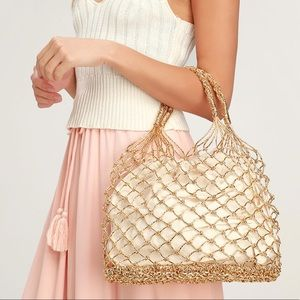 Metallic Gold Woven Tote Bag